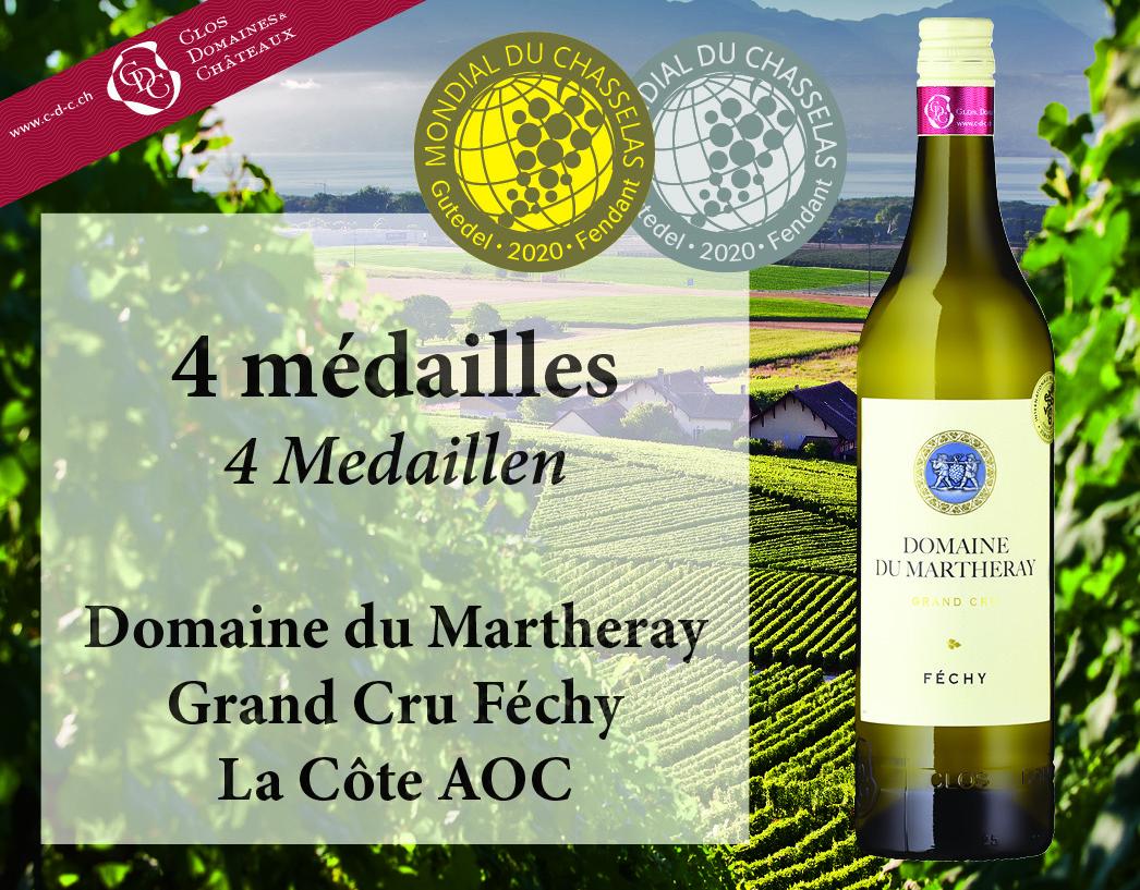 4 médailles pour le Domaine du Martheray au Mondial du Chasselas 2020!